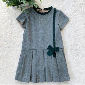 Bella bliss green tweed velvet bow pleated dress